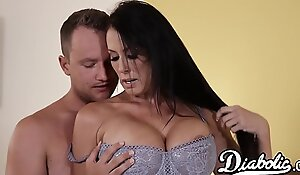 Lingerie clad Reagan Foxx bouncing on obese cock after BJ