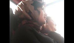 Girl bus hidden pull camera
