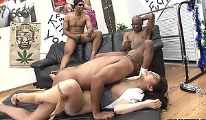 Three baneful men eliminate the Eastern whores bawdy cleft
