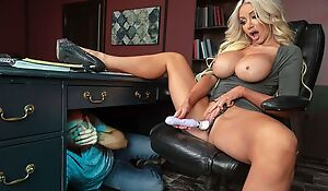 Long haired bitch with huge melons banged in the office