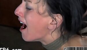 Gagged girl with clamped teats gets immoral awe