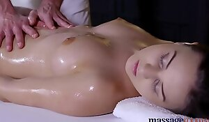 Massage Settlement Teen with unqualified bum gets filled in the matter of with hard flannel
