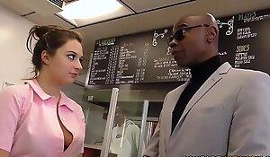 Waitress Elektra Rose Gangbanged Wide of Black Customers