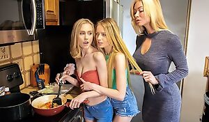 Sex-starved MILF seduces and fucks two pretty blonde teens