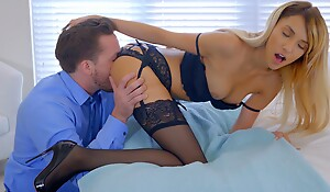 Lusty blonde babe Hime Marie decks out in lingerie and seduces her boyfriend into eating out and banging her bald pussy