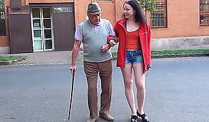 A happy day for grandpa with a small dick