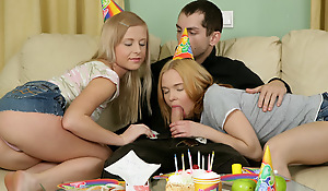 Happy Birthday! As A Present You May Fuck Two Petite Blondes