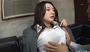 Busty Office Lady In Pantyhose Getting Her Tits Rubbed Ass Spanked Pussy Fingere