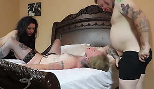 Tattooed Husband and Wife in Threesome with the MILF next Door
