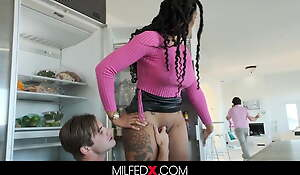 Busty Milf Fucks Her Stepson While Cleaning For Her Boss