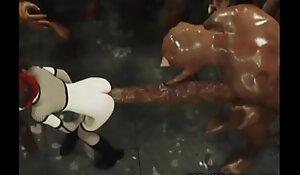 3D Emo Teen Destroyed wide of Giant Ogres!