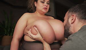 Playing with huge titties