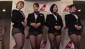Gang of Asian stewardesses getting fucked good and decent