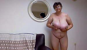 Adult lady less big tits