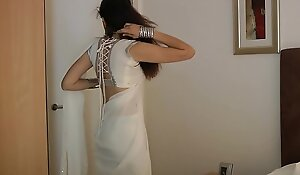 Indian College Girl Jasmine Mathur Concerning White Indian Sari