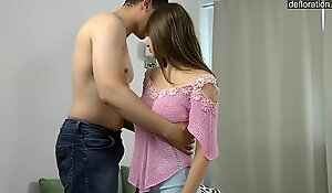 Consummate fresh legal age teenager unladylike loses her celibacy coupled less upstairs the spot ..