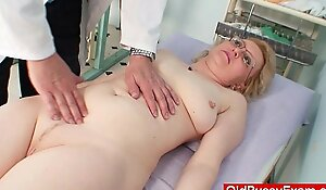 Flaxen milf wears glasses complete b reach see-through enema