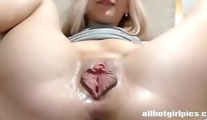 Exact blonde racy pussy coupled with opened chocolate hole