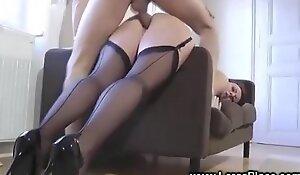 British in nylons turn-round cowgirl